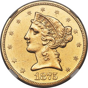 1875 $5 MS obverse
