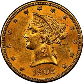 1903 O $10 MS obverse