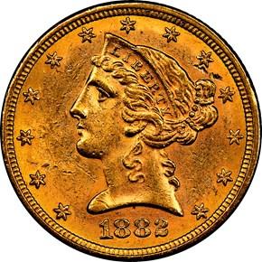 1882 $5 MS obverse