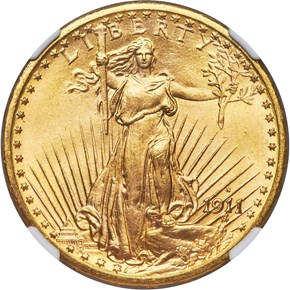 1911 S $20 MS obverse