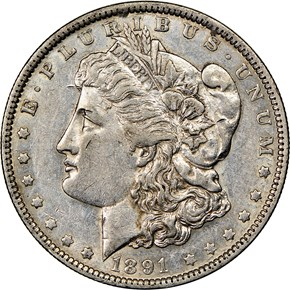 1891 O $1 MS obverse