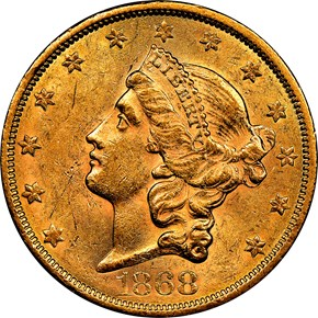 1868 S $20 MS obverse