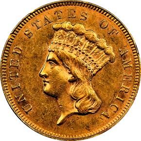 1866 $3 MS obverse