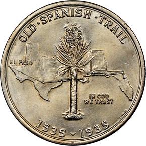 1935 SPANISH TRAIL 50C MS reverse