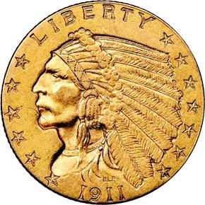 1911 D WEAK D $2.5 MS obverse