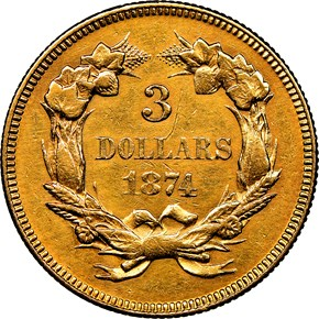 1874 $3 MS reverse