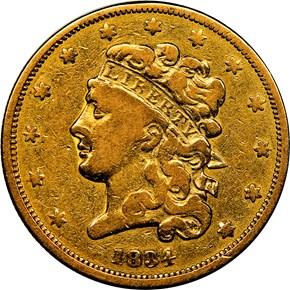 1834 CLASSIC PLAIN 4 $5 MS obverse