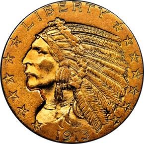 1913 $5 MS obverse
