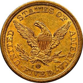 1844 O $5 MS reverse