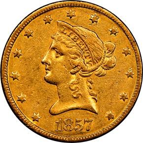 1857 $10 MS obverse