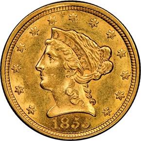 1855 $2.5 MS obverse