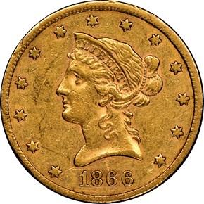 1866 S NO MOTTO $10 MS obverse