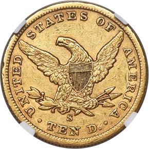 1866 S NO MOTTO $10 MS reverse