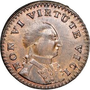1786 SM HEAD NEW YORK NON VI VIRTUTE VICI MS obverse