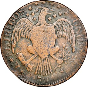 1787 EAGLE RIGHT EXCELSIOR, ARROWS AT LEFT MS reverse