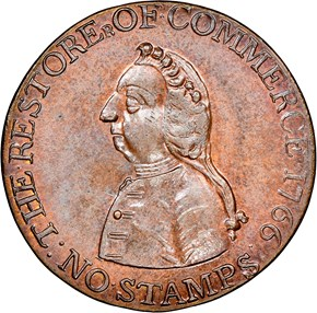 1766 WILLIAM PITT 1/2P MS obverse