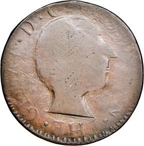 1784-DATED UGLY HEAD GEORGE WASHINGTON COPPER MS obverse