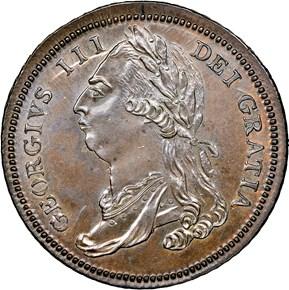 (1791) LARGE EAGLE GEORGE III OBVERSE MULE 1C MS obverse