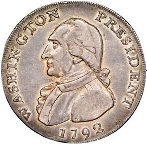 1792 EAGLE & STARS SILV WASHINGTON PRESIDENT 1C MS obverse