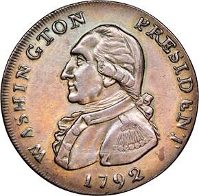 1792 P.E. LEGEND WASHINGTON PRESIDENT 1C MS obverse