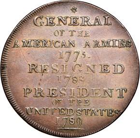 1792 P.E. LEGEND WASHINGTON PRESIDENT 1C MS reverse