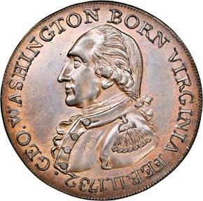 (1792) COPPER WASHINGTON BORN VIRGINIA 1C MS obverse