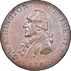 1792 SMALL EAGLE P.E. G.WASHINGTON PRESIDENT 1C MS obverse