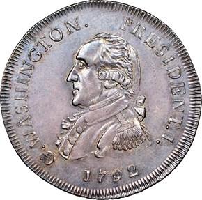 1792 SMALL EAGLE O.E. G.WASHINGTON PRESIDENT 50C M obverse