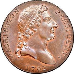 1792 ROMAN HEAD WASHINGTON PRESIDENT 1C PF obverse