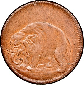 1694 O/E ELEPHANT GOD PRESERVE CAROLINA TOKEN MS obverse