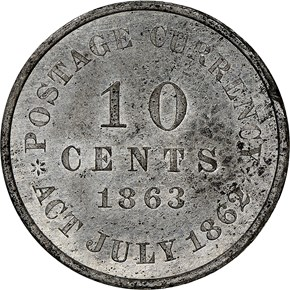 1863 J-329 10C PF reverse