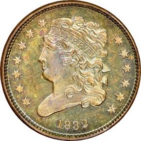 1832 1/2C PF obverse