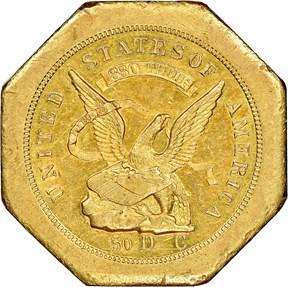 """1851 """"880"""" NO """"50"""" AUGUSTUS HUMBERT $50 MS obverse"""