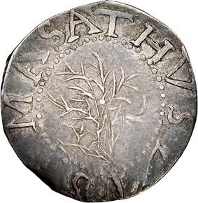 1652 'IN'REV OAK TREE MASSACHUSETTS 6P MS obverse