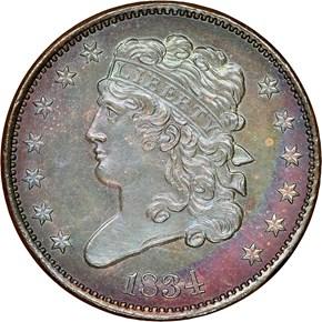 1834 C-1 1/2C PF obverse