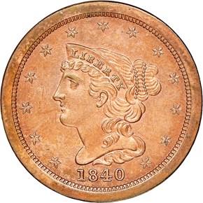 1840 ORIGINAL 1/2C PF obverse