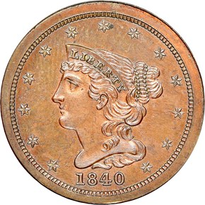 1840 RESTRIKE 1/2C PF obverse