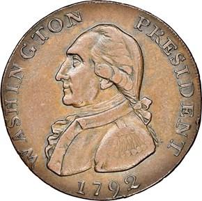 1792 EAGLE & STARS COP WASHINGTON PRESIDENT 1C MS obverse