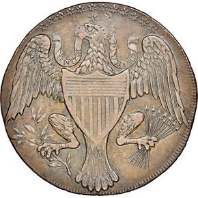 1792 EAGLE & STARS COP WASHINGTON PRESIDENT 1C MS reverse