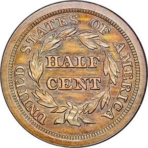 1841 RESTRIKE 1/2C PF reverse