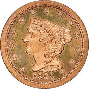 1844 ORIGINAL 1/2C PF obverse