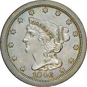 1846 ORIGINAL 1/2C PF obverse