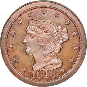 1848 RESTRIKE 1/2C PF obverse