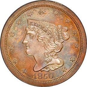 1850 1/2C PF obverse