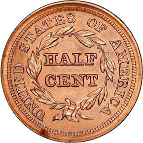 1854 1/2C PF reverse