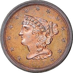 1857 1/2C PF obverse