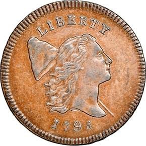 1795 LETTER EDGE 1/2C MS obverse