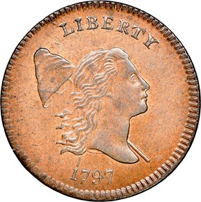 1797 PLAIN EDGE 1/2C MS obverse