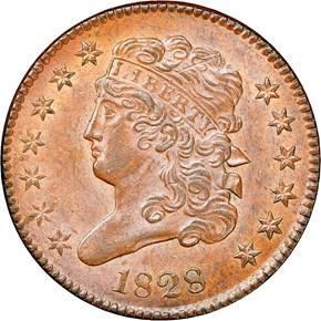 1828 1/2C MS obverse