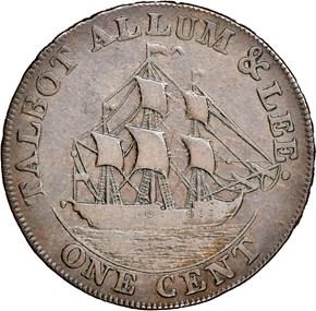 1794 L.E. NO 'NEW YORK' TALBOT ALLUM & LEE 1C MS reverse
